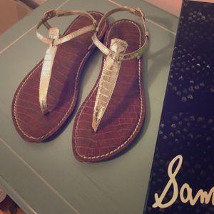 "Gold Sam Edelman ""Positano"" sandals, size 7.5"